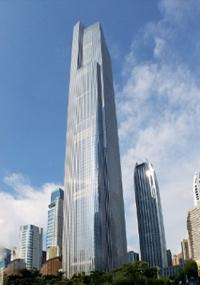 广州周大福金融中心的外观